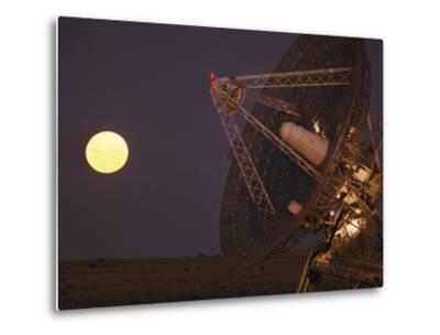 The Full Moon Rises Near a Satellite Dish-Joe Scherschel-Metal Print
