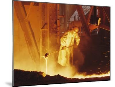 View of a Steel Worker Working in Protective Clothing-Joe Scherschel-Mounted Photographic Print