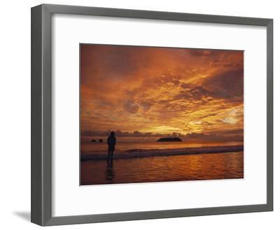 A Brilliant Orange Sunset on the Coast of Costa Rica-Tim Laman-Framed Photographic Print