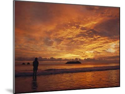 A Brilliant Orange Sunset on the Coast of Costa Rica-Tim Laman-Mounted Photographic Print