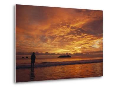A Brilliant Orange Sunset on the Coast of Costa Rica-Tim Laman-Metal Print