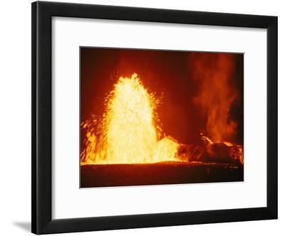 Mauna Loa Volcano Erupting at Night-Bill Curtsinger-Framed Photographic Print