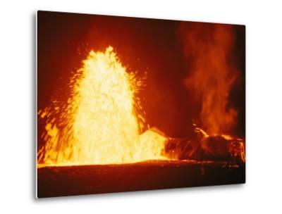 Mauna Loa Volcano Erupting at Night-Bill Curtsinger-Metal Print