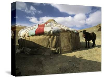A Yurt with a Colorful Roof in Bayan Olgiy, Mongolia-Ed George-Stretched Canvas Print