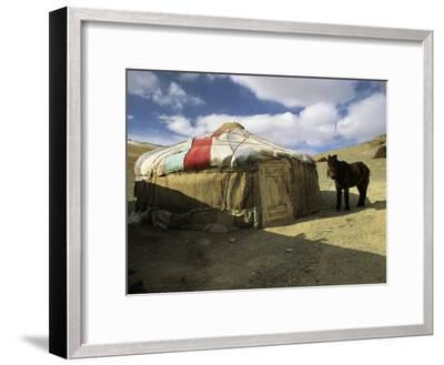 A Yurt with a Colorful Roof in Bayan Olgiy, Mongolia-Ed George-Framed Photographic Print
