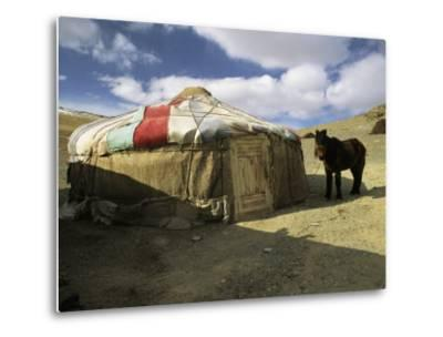 A Yurt with a Colorful Roof in Bayan Olgiy, Mongolia-Ed George-Metal Print