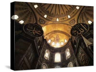 Interior View Looking up Towards the Dome of the Hagia Sophia-Steve Winter-Stretched Canvas Print