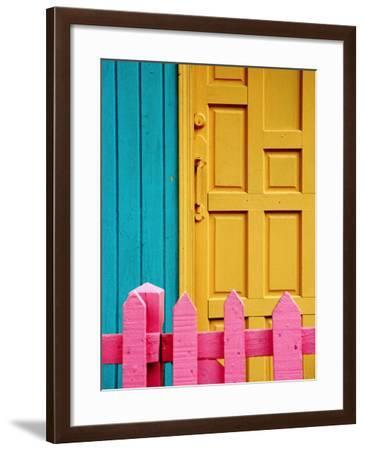 Painted Door and Fence, Downtown, French Side, Marigot, St. Martin-Richard Cummins-Framed Photographic Print