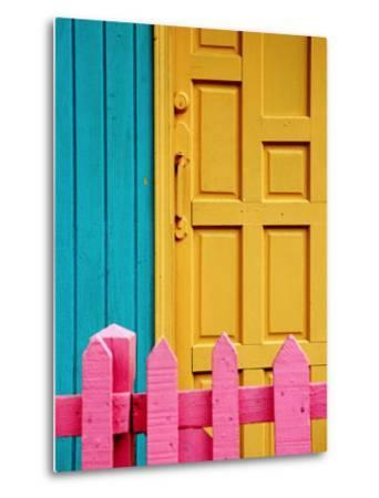 Painted Door and Fence, Downtown, French Side, Marigot, St. Martin-Richard Cummins-Metal Print