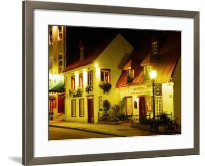 Historic Restaurant at Night, Quebec City, Canada-Wayne Walton-Framed Photographic Print