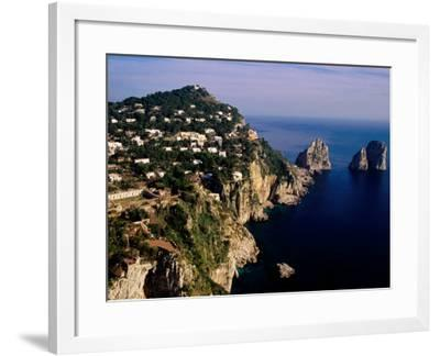 Rocky Coastline and Isola Faraglioni Offshore Rocks from Gardens of Augustus, Capri, Italy-Pershouse Craig-Framed Photographic Print