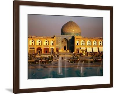 Overhead of Fountains Outside Sheikh Lotfollah Mosque, Emam Khomeini Square, Esfahan, Iran-Mark Daffey-Framed Photographic Print
