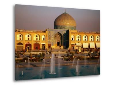 Overhead of Fountains Outside Sheikh Lotfollah Mosque, Emam Khomeini Square, Esfahan, Iran-Mark Daffey-Metal Print