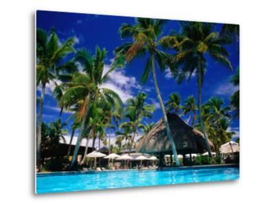 Hotel Pool and Palm Trees, Fiji-Peter Hendrie-Metal Print
