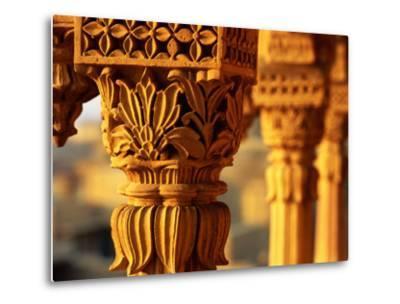 Detail of Carved Sandstone Pillars on Patwon Ki Haveli, Jaisalmer, India-Anthony Plummer-Metal Print