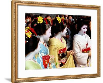 Geisha and Maiko at Memorial for Poet Yoshii Isamu in Gion, Japan-Frank Carter-Framed Photographic Print