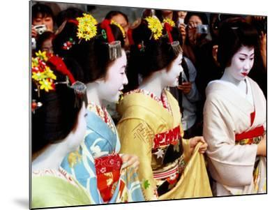 Geisha and Maiko at Memorial for Poet Yoshii Isamu in Gion, Japan-Frank Carter-Mounted Photographic Print