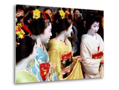 Geisha and Maiko at Memorial for Poet Yoshii Isamu in Gion, Japan-Frank Carter-Metal Print