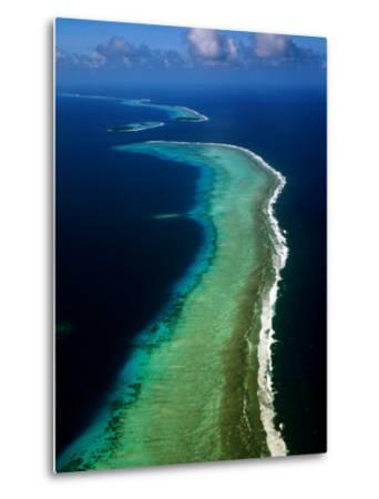 Aerial of Barrier Atoll, Micronesia-John Elk III-Metal Print