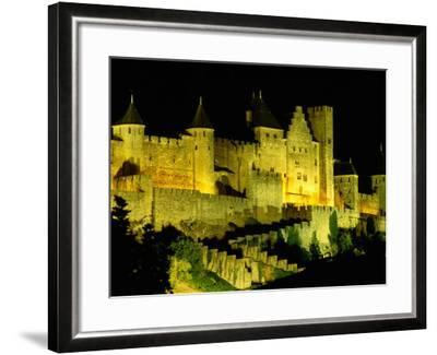 """Chateau Comtal and Medieval Walled City at Night Above """"New Town"""", Carcassonne, France-Dallas Stribley-Framed Photographic Print"""