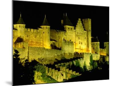 """Chateau Comtal and Medieval Walled City at Night Above """"New Town"""", Carcassonne, France-Dallas Stribley-Mounted Photographic Print"""