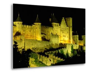 """Chateau Comtal and Medieval Walled City at Night Above """"New Town"""", Carcassonne, France-Dallas Stribley-Metal Print"""