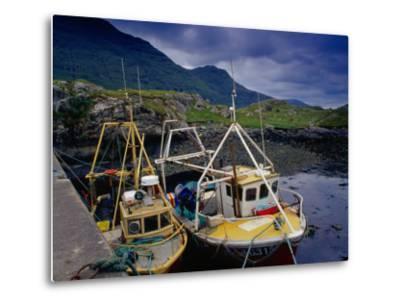 Trawlers at Rosroe in Killary Harbour, Connemara, Ireland-Gareth McCormack-Metal Print