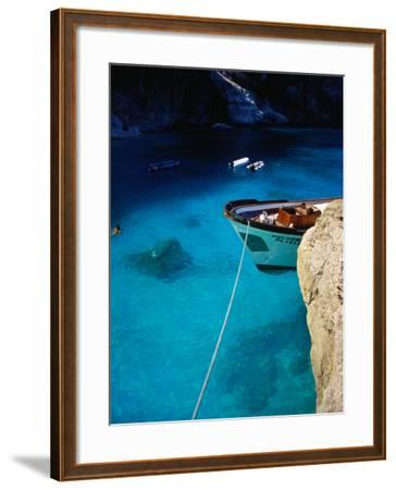 Boat in Water of Cala De Mariolu, Golfo Di Orosei, Italy-Damien Simonis-Framed Photographic Print