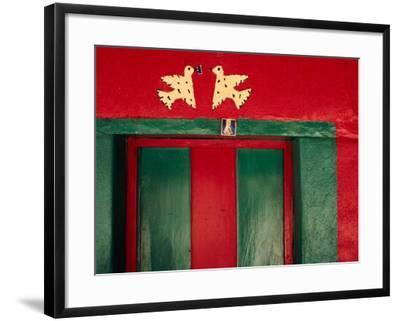 Detail of Painted House Facade, La Venta Del Sur, Honduras-Jeffrey Becom-Framed Photographic Print