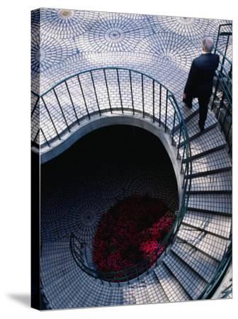 Businessman Ascending Stairs at Embarcadero Centre, San Francisco, California, USA-Roberto Gerometta-Stretched Canvas Print