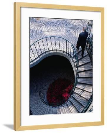 Businessman Ascending Stairs at Embarcadero Centre, San Francisco, California, USA-Roberto Gerometta-Framed Photographic Print