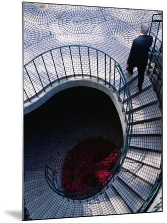 Businessman Ascending Stairs at Embarcadero Centre, San Francisco, California, USA-Roberto Gerometta-Mounted Photographic Print