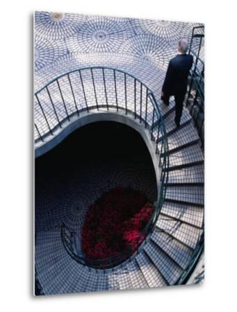Businessman Ascending Stairs at Embarcadero Centre, San Francisco, California, USA-Roberto Gerometta-Metal Print