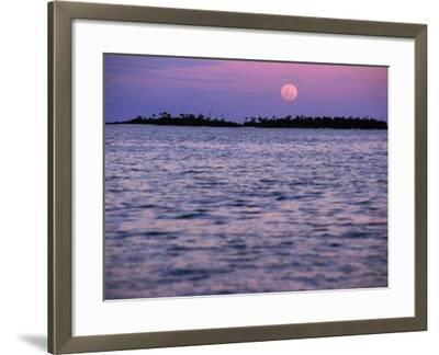 Full Moon at Sunset, Cook Islands-Peter Hendrie-Framed Photographic Print