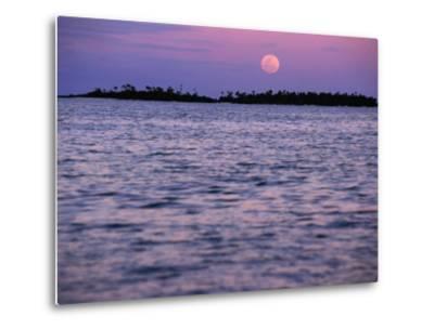 Full Moon at Sunset, Cook Islands-Peter Hendrie-Metal Print