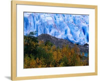 Autumn Colours and Icefall at Briksdalsbreen Glacier, Finnmark, Norway-Anders Blomqvist-Framed Photographic Print