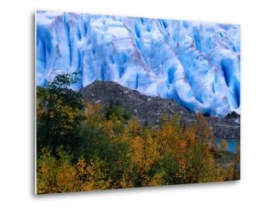 Autumn Colours and Icefall at Briksdalsbreen Glacier, Finnmark, Norway-Anders Blomqvist-Metal Print
