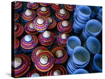 Locally Made Baskets and Ceramic Bowls for Sale in Najran Basket Souq, Najran, Asir, Saudi Arabia-Tony Wheeler-Stretched Canvas Print