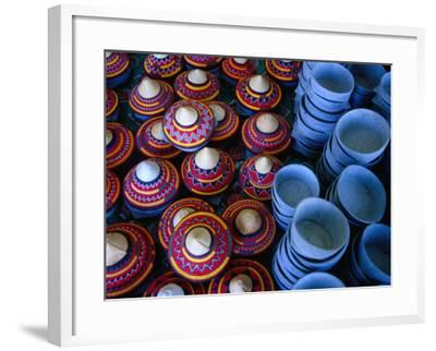 Locally Made Baskets and Ceramic Bowls for Sale in Najran Basket Souq, Najran, Asir, Saudi Arabia-Tony Wheeler-Framed Photographic Print