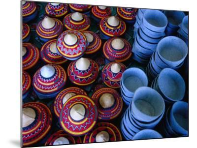 Locally Made Baskets and Ceramic Bowls for Sale in Najran Basket Souq, Najran, Asir, Saudi Arabia-Tony Wheeler-Mounted Photographic Print