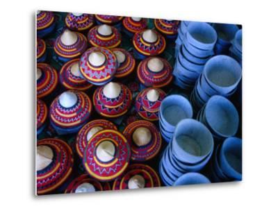 Locally Made Baskets and Ceramic Bowls for Sale in Najran Basket Souq, Najran, Asir, Saudi Arabia-Tony Wheeler-Metal Print