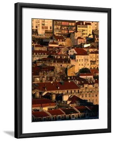 Sunset View of Houses Packed in Below Castelo De Sao Jorge, Castelo, Lisbon, Portugal-Anders Blomqvist-Framed Photographic Print