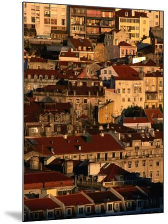 Sunset View of Houses Packed in Below Castelo De Sao Jorge, Castelo, Lisbon, Portugal-Anders Blomqvist-Mounted Photographic Print