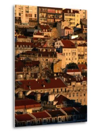 Sunset View of Houses Packed in Below Castelo De Sao Jorge, Castelo, Lisbon, Portugal-Anders Blomqvist-Metal Print