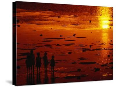 Children Silhouetted at Sunset, Ko Samui, Surat Thani, Thailand-Dallas Stribley-Stretched Canvas Print
