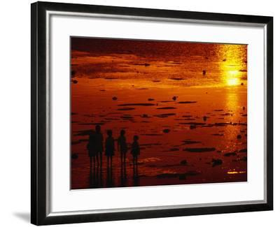 Children Silhouetted at Sunset, Ko Samui, Surat Thani, Thailand-Dallas Stribley-Framed Photographic Print