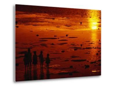 Children Silhouetted at Sunset, Ko Samui, Surat Thani, Thailand-Dallas Stribley-Metal Print