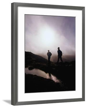 Walkers in Mist on Diamond Hill in Connemara National Park, Connemara, Ireland-Gareth McCormack-Framed Photographic Print