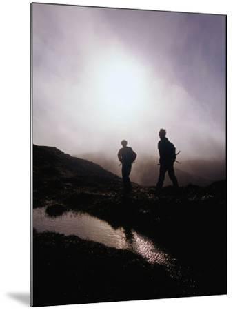 Walkers in Mist on Diamond Hill in Connemara National Park, Connemara, Ireland-Gareth McCormack-Mounted Photographic Print