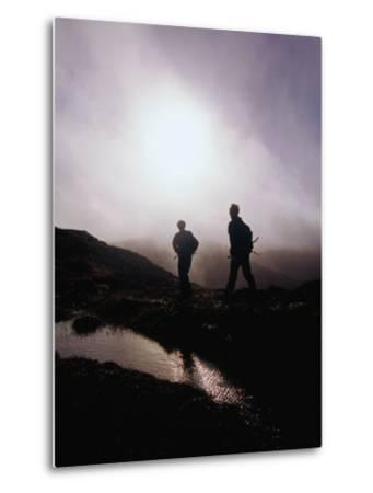 Walkers in Mist on Diamond Hill in Connemara National Park, Connemara, Ireland-Gareth McCormack-Metal Print